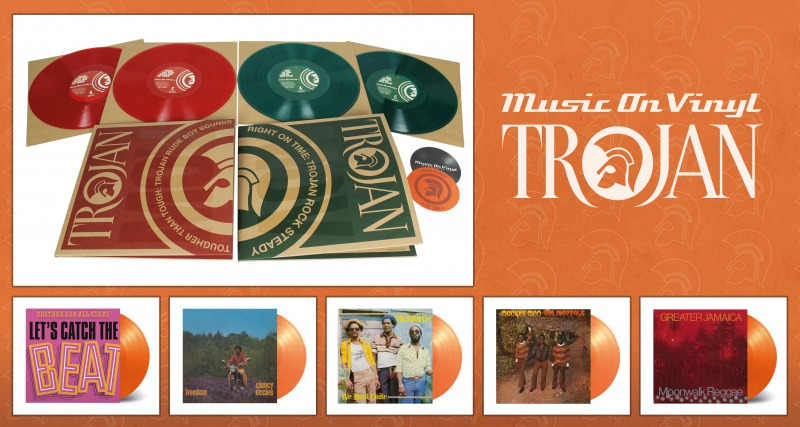 WIN 5 CLASSIC TROJAN TITLES ON ORANGE COLOURED VINYL